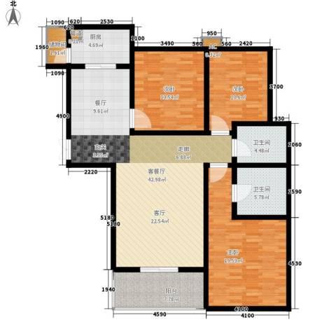 锦绣江南3室1厅2卫1厨126.00㎡户型图