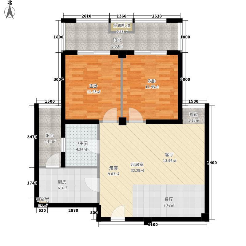 朝辉首府5.00㎡二期7#楼B户型2室2厅1卫1厨