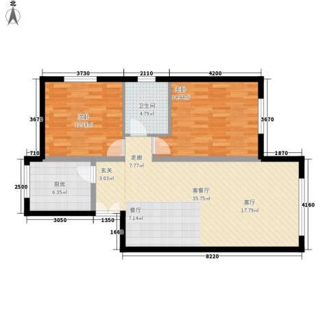 三园新城佳苑2室1厅1卫1厨83.00㎡户型图