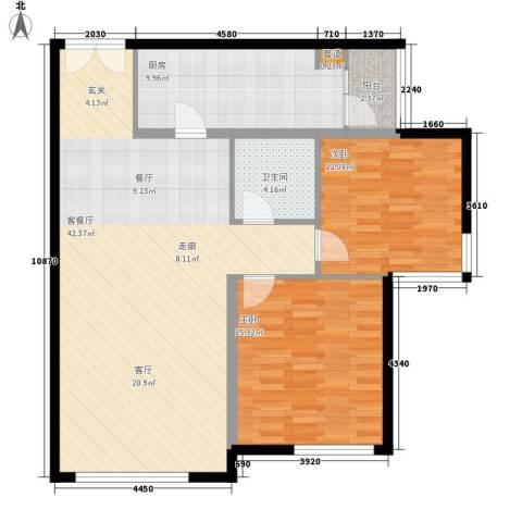 三园新城佳苑2室1厅1卫1厨86.50㎡户型图