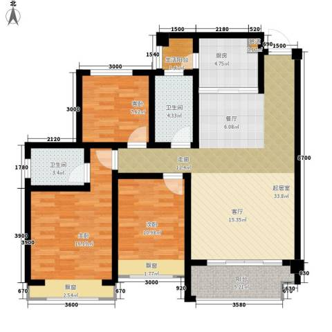 兴发金域丽江3室0厅2卫1厨104.00㎡户型图