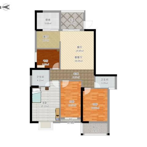罗马景福城4室1厅2卫1厨117.24㎡户型图
