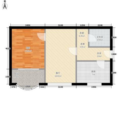 地铁古城家园1室1厅1卫1厨71.00㎡户型图