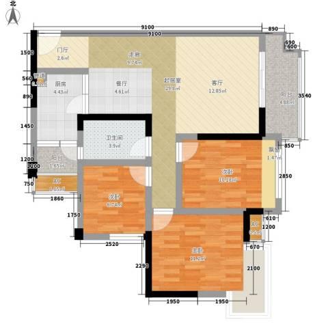 兴发金域丽江3室0厅1卫1厨95.00㎡户型图