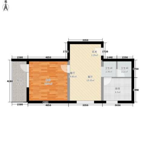 地铁古城家园1室1厅1卫1厨56.00㎡户型图