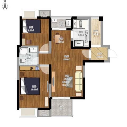 金地格林世界森林公馆2室1厅1卫1厨87.00㎡户型图