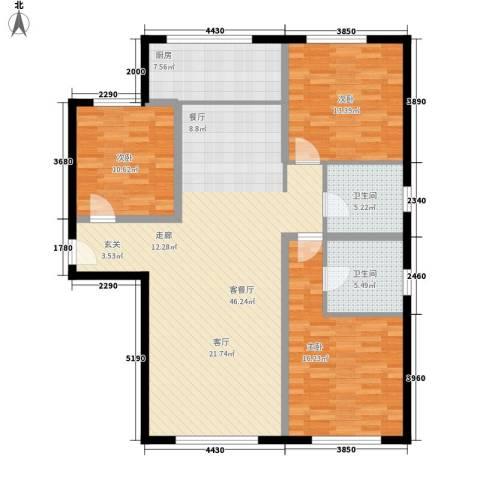 三园新城佳苑3室1厅2卫1厨117.00㎡户型图