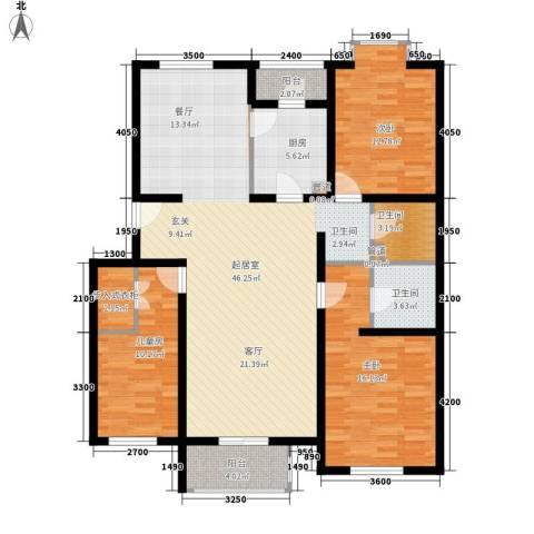 鸿兴苑小区3室0厅2卫1厨151.00㎡户型图