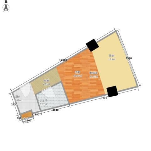 擎天半岛滨海国际公寓1卫0厨51.00㎡户型图