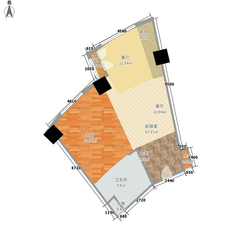 擎天半岛滨海国际公寓7.50㎡B户型1室1厅1卫1厨