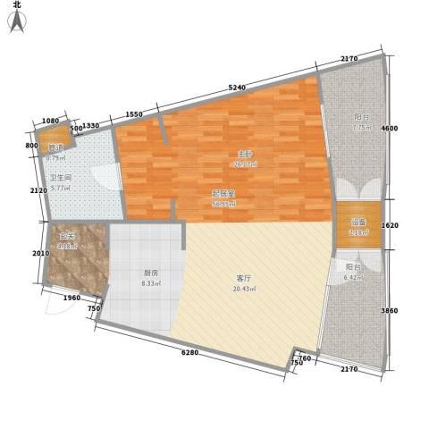 擎天半岛滨海国际公寓1卫0厨86.00㎡户型图