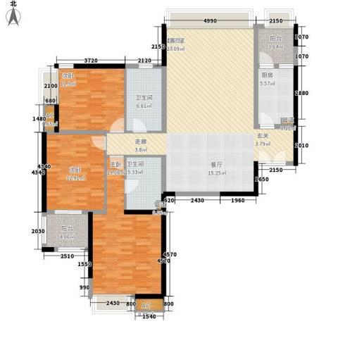 新兴骏景园三期3室0厅2卫1厨136.00㎡户型图