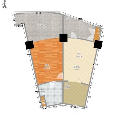 擎天半岛滨海国际公寓1室0厅1卫0厨88.00㎡户型图
