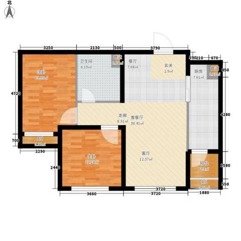 「大连天地」悦龙居2室1厅1卫1厨84.00㎡户型图
