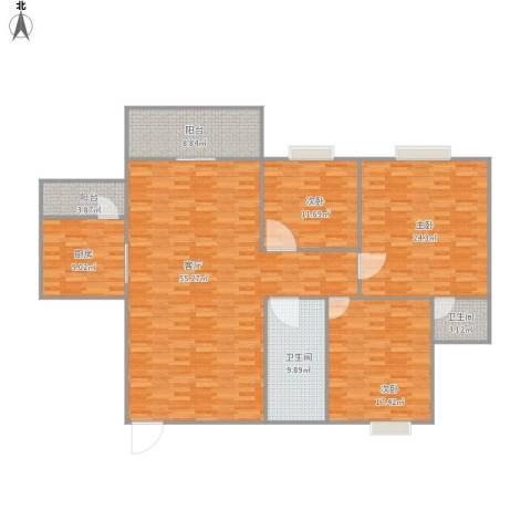 新港花园3室1厅2卫1厨190.00㎡户型图