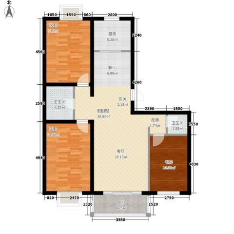 东城名郡3室0厅2卫1厨101.63㎡户型图