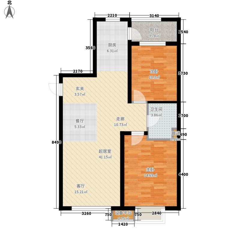 五矿万泉公元99.37㎡五矿万泉公元户型图1-C/1-D2室2厅1卫户型2室2厅1卫
