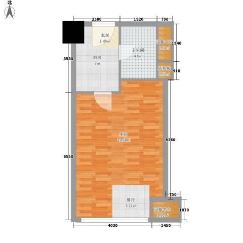 东方雅居二期1室0厅1卫1厨49.00㎡户型图