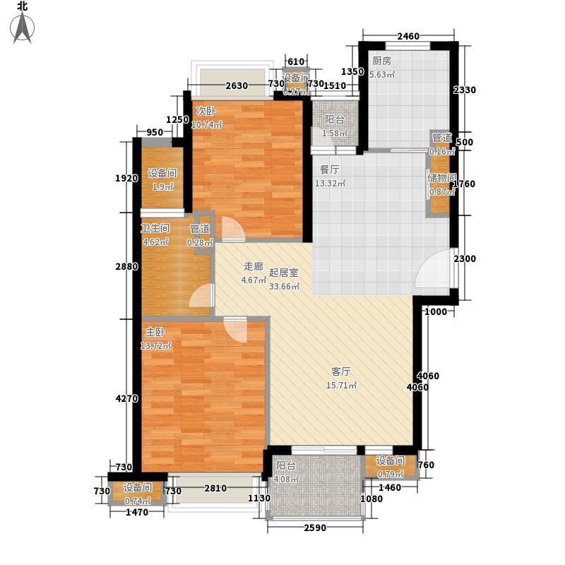 日月光水岸花园90.00㎡户型2室2厅1卫1厨