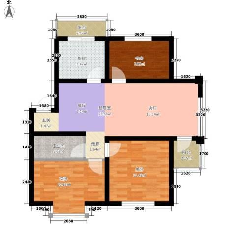 在水一方3室0厅1卫1厨87.00㎡户型图