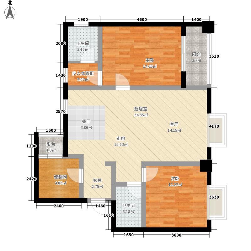 上东吉座87.41㎡B户型2室2厅2卫1厨