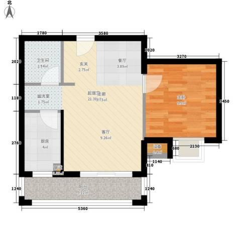 中山SOHO公寓1室0厅1卫1厨63.00㎡户型图