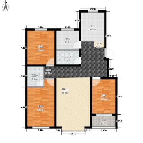 御品星城3室1厅2卫1厨154.00㎡户型图