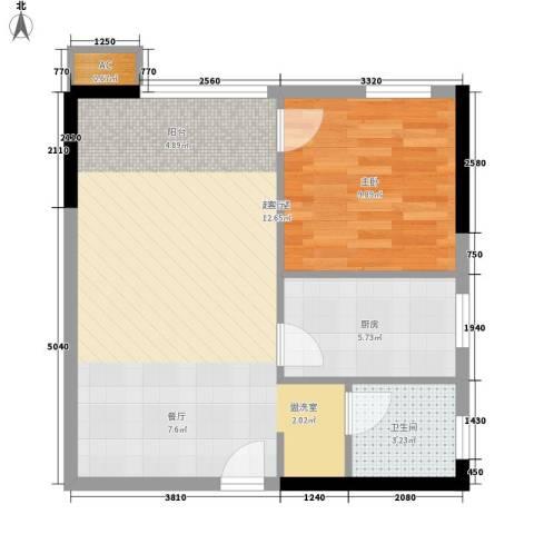 泓泰国际1室0厅1卫1厨65.00㎡户型图