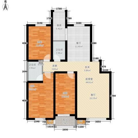 公交蜀山园3室0厅2卫1厨113.00㎡户型图