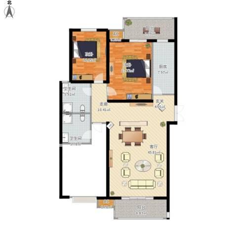 尚层名筑2室1厅2卫1厨155.00㎡户型图
