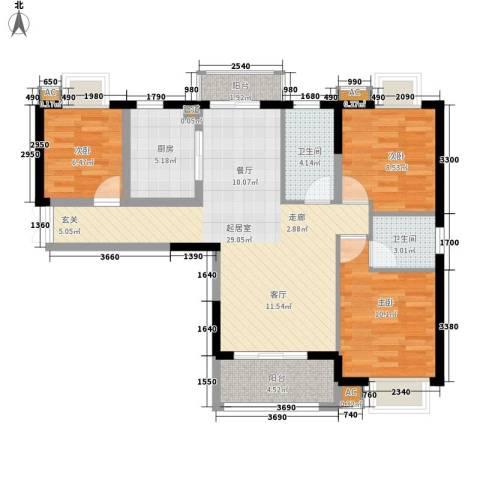 始信花园3室0厅2卫1厨85.00㎡户型图