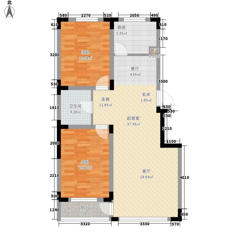 清河湾86.69㎡清河湾户型图I户型2室2厅1卫1厨户型2室2厅1卫1厨