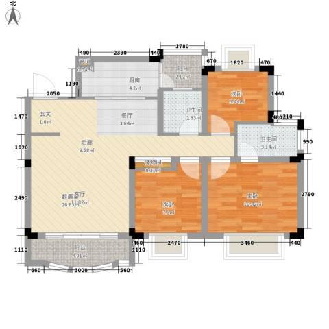 南峰御鹿华庭3室0厅2卫1厨97.00㎡户型图