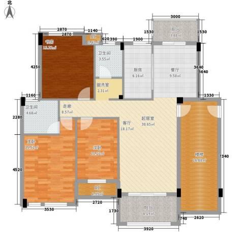尊德天城3室0厅2卫1厨121.37㎡户型图