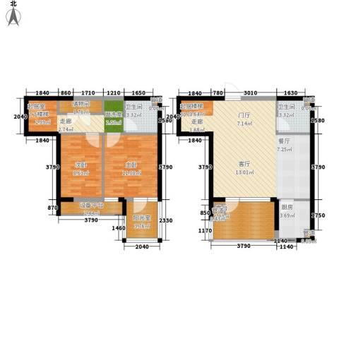 首创・国际城2室0厅2卫1厨97.00㎡户型图