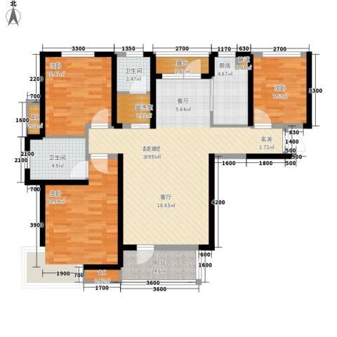 首创・国际城3室0厅2卫1厨115.00㎡户型图