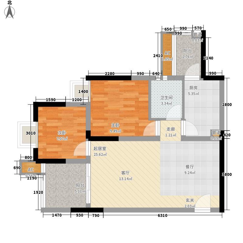 金悦湾63.29㎡一期1号楼标准层C户型