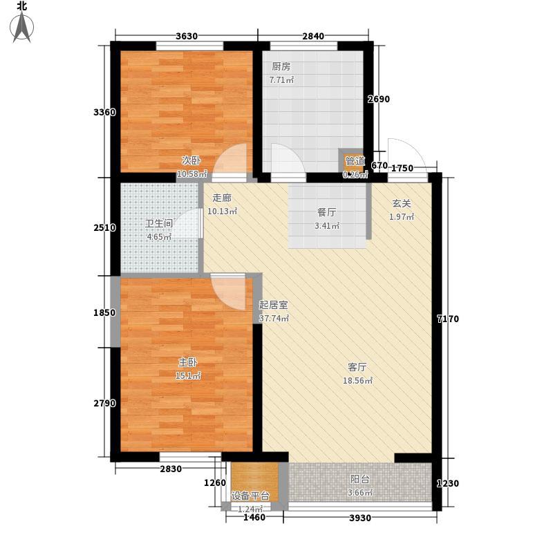 清河湾87.19㎡清河湾户型图C户型2室2厅1卫1厨户型2室2厅1卫1厨