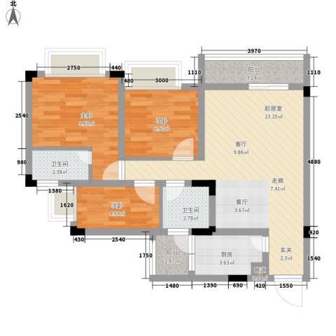 南峰御鹿华庭3室0厅2卫1厨88.00㎡户型图