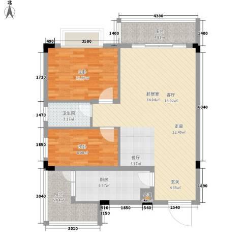南峰御鹿华庭2室0厅1卫1厨104.00㎡户型图