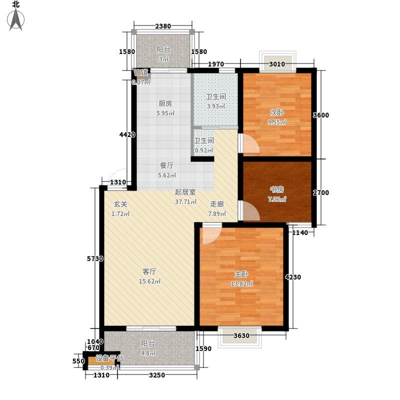 现代兴华苑6.44㎡G1户型3室2厅1卫1厨
