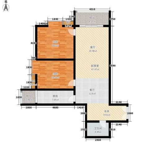 嘉禾公馆2室0厅1卫1厨114.00㎡户型图