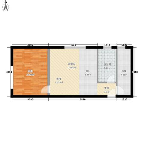 三园新城佳苑1室1厅1卫1厨52.79㎡户型图