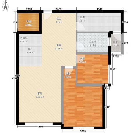 三园新城佳苑2室1厅1卫1厨88.70㎡户型图