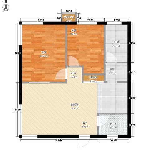 博客雅居2室0厅1卫1厨87.00㎡户型图