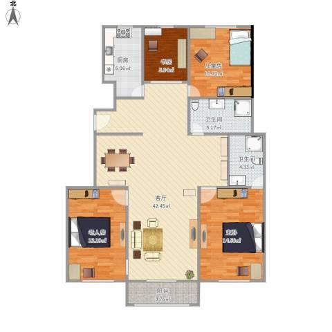 滨河路12号院4室1厅2卫1厨142.00㎡户型图