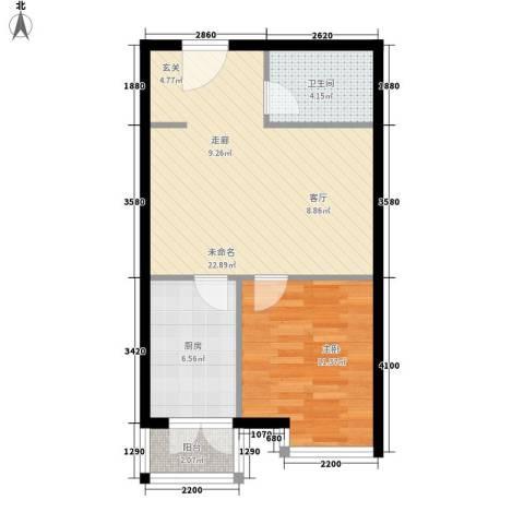 都市e线1室0厅1卫1厨53.00㎡户型图