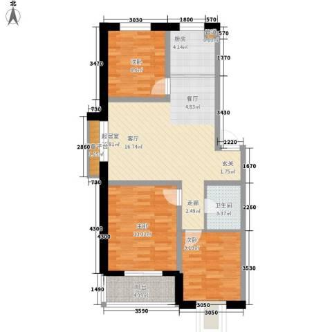 帝景豪庭3室0厅1卫1厨104.00㎡户型图