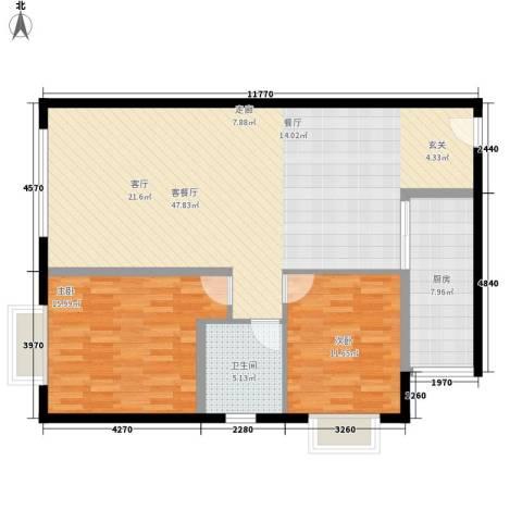 三园新城佳苑2室1厅1卫1厨88.56㎡户型图