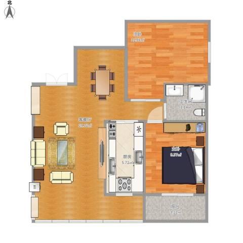 富山美迪斯2室1厅1卫1厨86.00㎡户型图